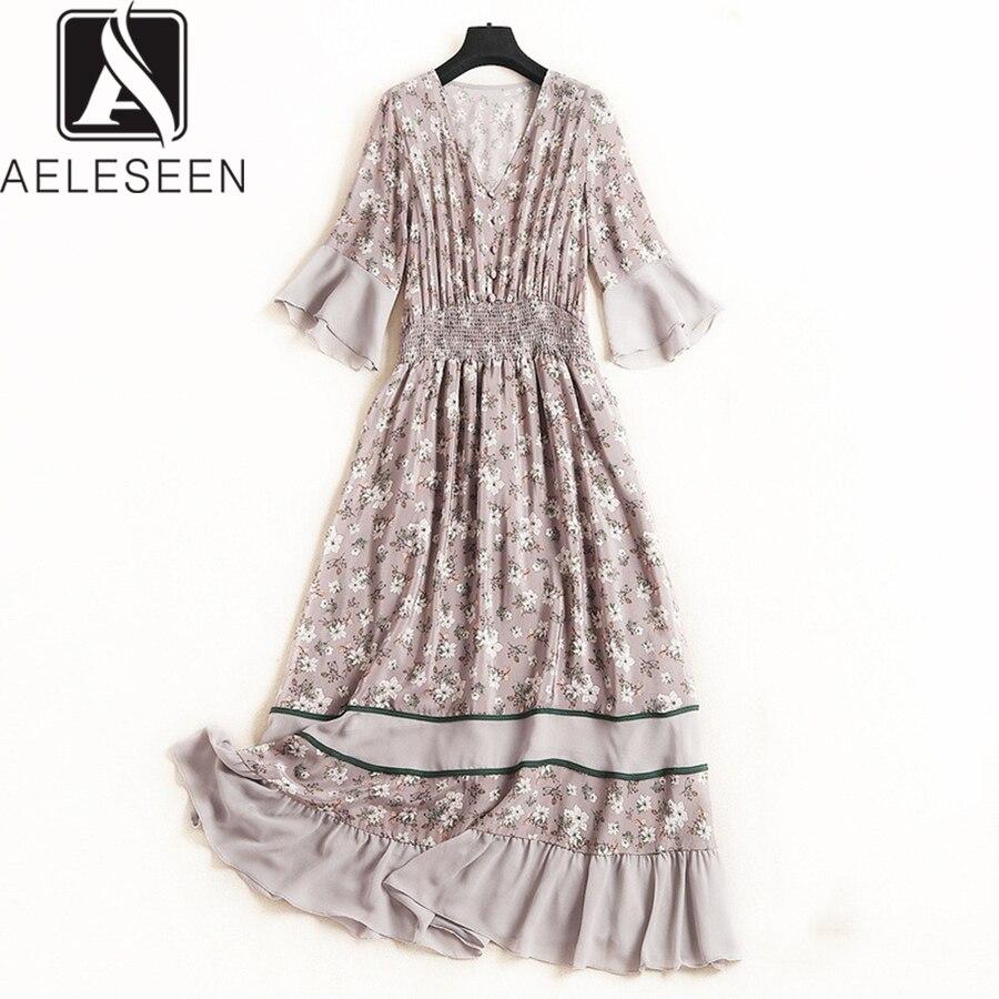 AELESEEN Bohemain XXL Women Silk Dress 2019 Runway Fashion Summer Flare Sleeve New Floral Print V Neck Ruffles Long New Dress