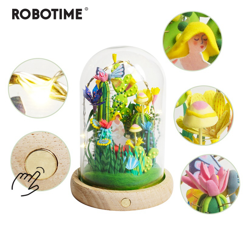Robotime 4 Kinds Modeling Clay With Led Glass Box Colorful Polymer Creative DIY Clay Creative Toy