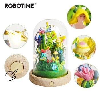 Robotime 4 вида глина для моделирования со светодиодной и стеклянной коробкой красочная полимерная креативная глина