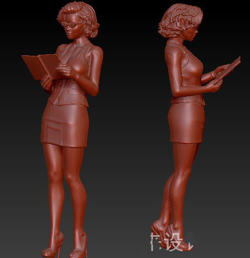 3D model for cnc 3D carved figure sculpture machine in STL file format reading girl ...