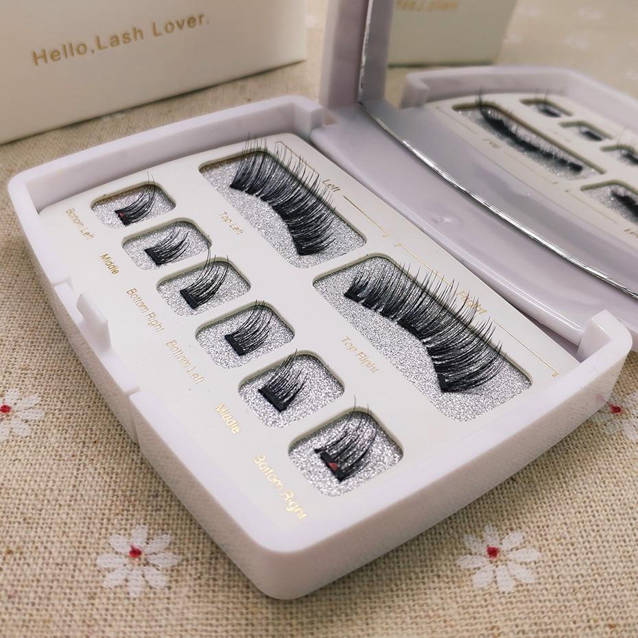 Genailish 1 Pair 3d Eye Lashes Magnetic Eyeashes False Eyelashes Extension Lashes Natural Custom Packaging Box Acrylic SCT-W-601