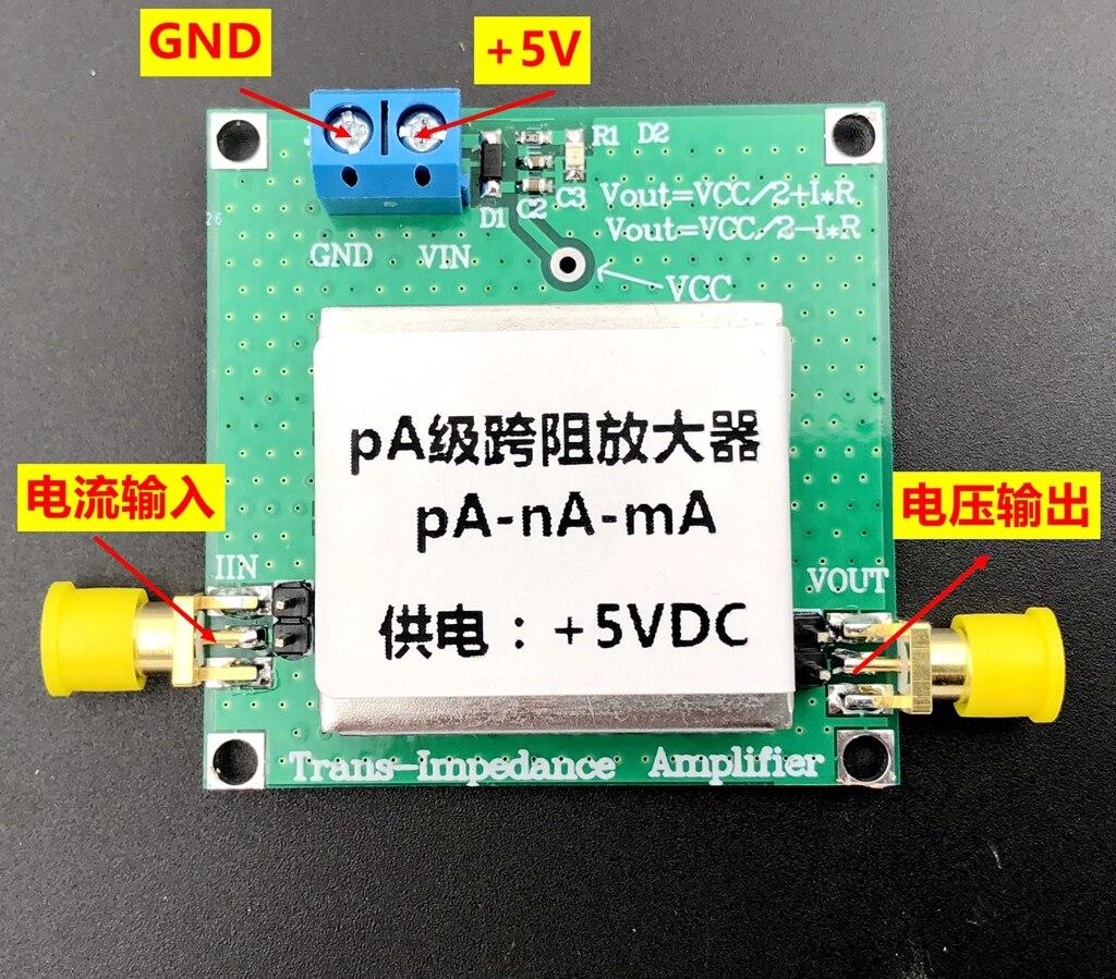 TLC2201 TIA Transimpedance Weak Current Measurement Module IV Conversion Preamplifier Silicon Optical Detection
