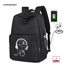 цена Senkey & Style Men's Backpack Luminous Middle School Student Bag Men's Casual Computer Bagpacks Oxford ClothOutdoor Back pack онлайн в 2017 году