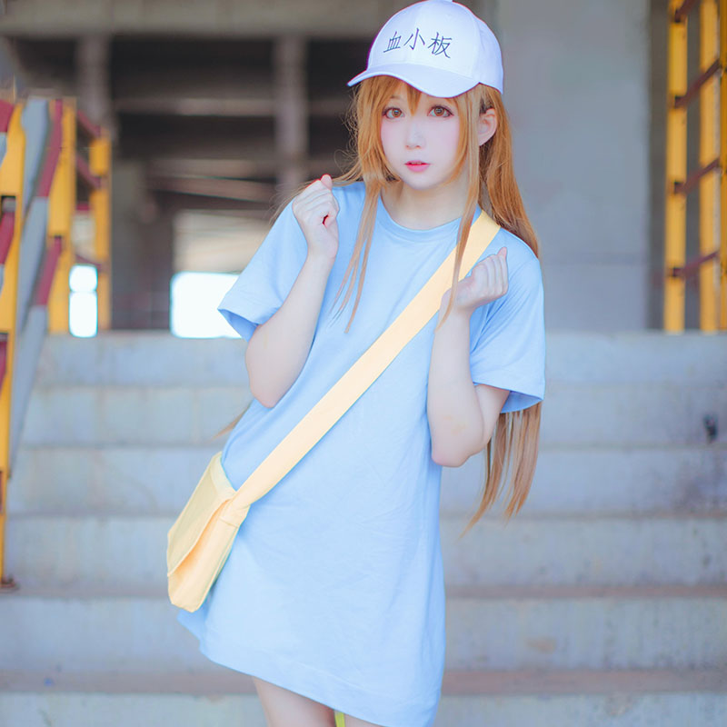 New Cells At Work Macrophage Platelet Cosplay Costume Halloween Long Lace Dress