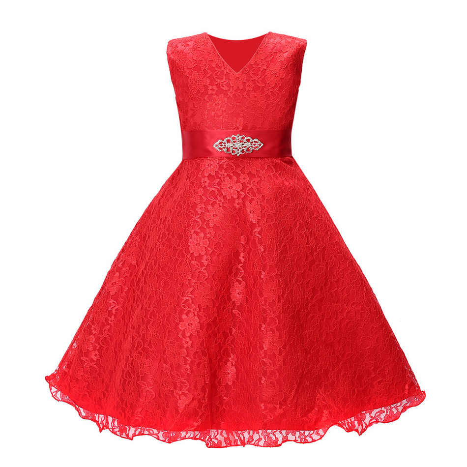 Girls party wear clothing for children summer sleeveless lace princess wedding dress girls teenage well prom