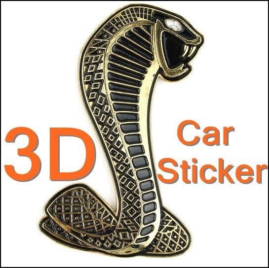 Luxury 3D Cobra Shape Decal Chrome Car Sticker Badge