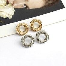 Elegant Round Metal Twining  Earrings for Women 2019 New Circle Statement Dangle Fashion Jewelry Gift