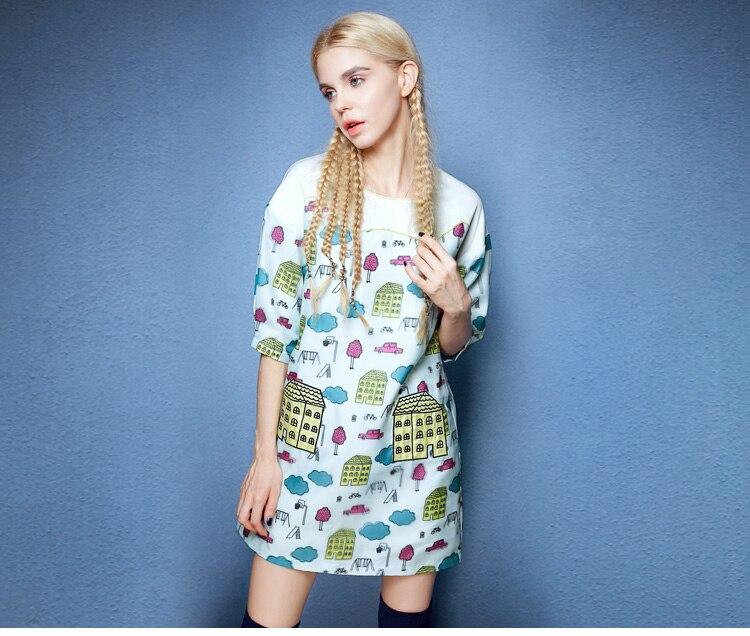 Été Simple doux mode hit couleur couture Europe et amérique imprimer robe femme lâche vert noir couleur imprimé robe