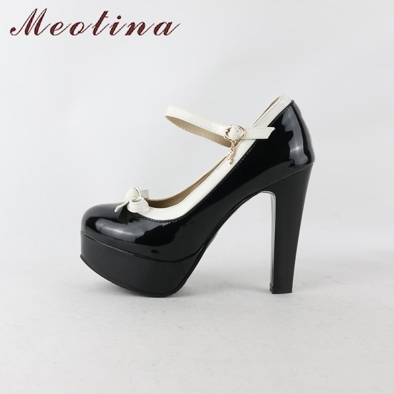 Zapatos de plataforma mujer Meotina zapatos de tacón alto bombas Mary Janes  Lolita Zapatos negro hebilla correa redonda punta 2018 zapatos de fiesta  damas ... 50c22a7bf848