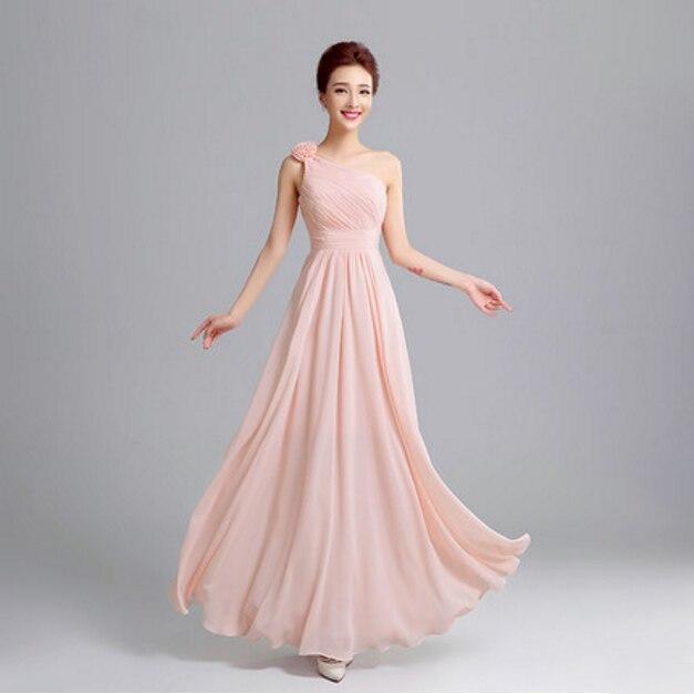 861d561c1 Mulheres pastel rosa de um ombro chiffon vestido de dama de honra estilo  grego s plus size vestidos de festa longos para damas de honra S2713 em  Vestidos De ...