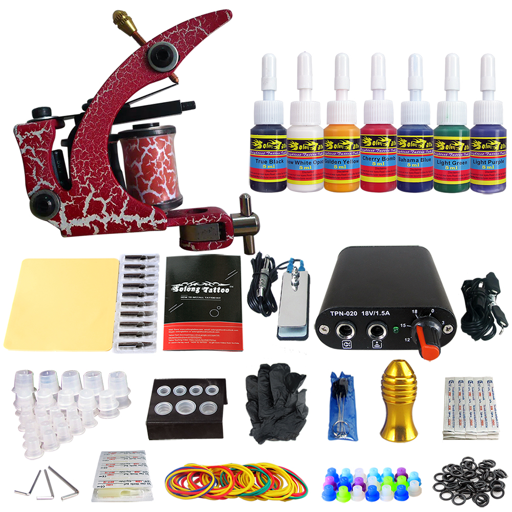 Solong Tattoo Complete Beginner Tattoo Kit 1 machine Gun 7 Color Inks Power Supply Grips Foot Petal Needles Set TK105-77Solong Tattoo Complete Beginner Tattoo Kit 1 machine Gun 7 Color Inks Power Supply Grips Foot Petal Needles Set TK105-77
