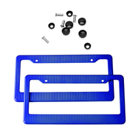 High Quality 2pcs Front Rear Carbon Fiber USA Canada License Plate Frame Tag Cover Holder For