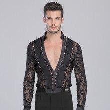 Mens Ballroom Shirts Latin Dance Top Mens Sexy Performance Dancewear 2016 New Arrival Deep V-neck Lace Standup Collar