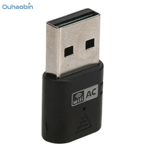 Oubaobin Popular Black WiFi Adapter Dongle USB Wireless Adapter Dongle AC600 Dual band 2.4/5Ghz For Laptop PC Portable Set8