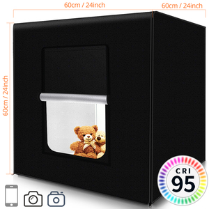 Image 5 - Travor Fotografie Studio leuchtkasten 60 cm 48W foto licht zelt Tabletop Schießen SoftBox mit 3 farben hintergrund Foto box