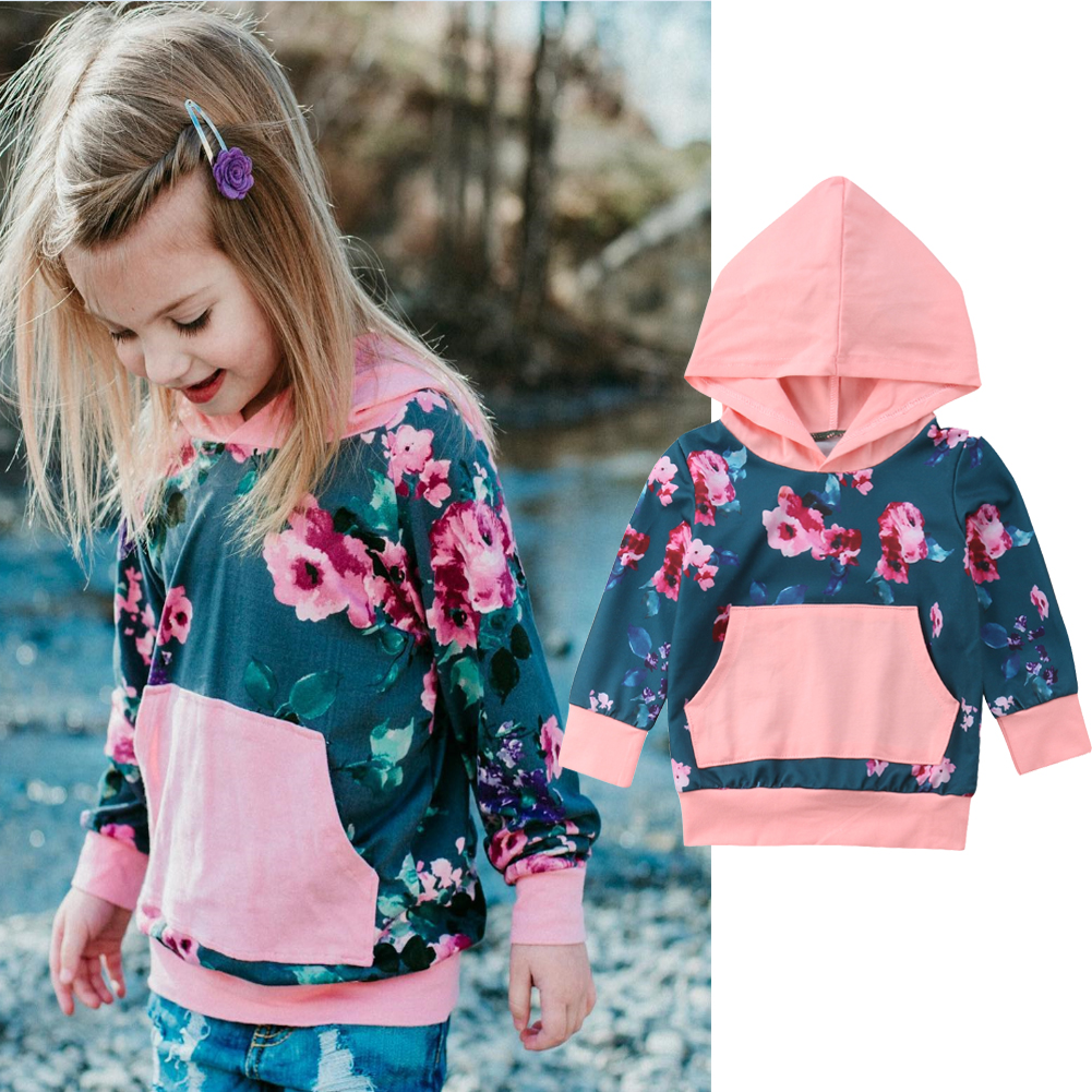 Infant Kids Baby Girl Winter Fall Floral Pullover Sweatshirt Tops Hoodie Clothes