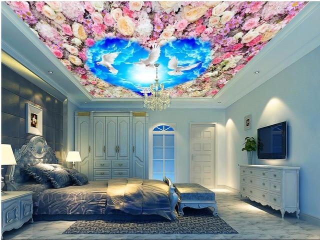 D kamer behang custom muurschildering blauwe hemel witte witte