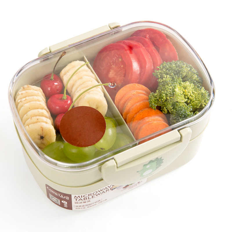 TUUTH Lunch Box Plastic Microwave Portable Double Layer Food Container Fruit Storage For Picnic School Office Workers