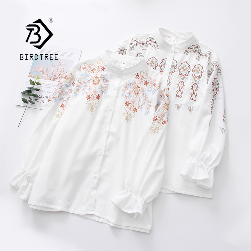 2019 NEW White Shirt Office Lady Wear Button Up Stand Butterfly Sleeve Cotton Blouse Floral Embroidery Feminina HOT SaleT8D429M