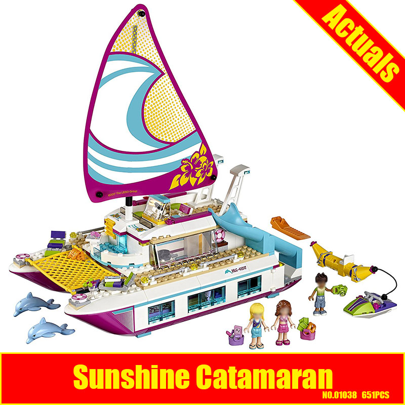 Lepin 01038 651pcs Friends Sunshine Catamaran Dolphins Olivia Stephanie Girl Building Block Compatible 41317 Brick Toy lepin 01038 friends girl series building blocks toys sunshine catamaran kids bricks toy girl gifts compatible legoing 41317