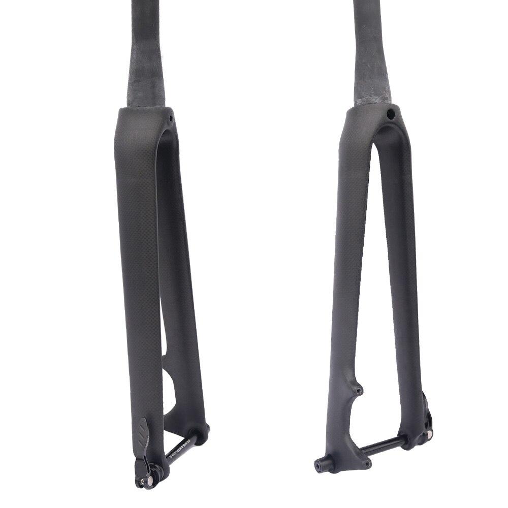 Fcfb fibra de carbono bicicleta de estrada garfo 700 c rígida cônico através eixo 12mm 1 garfos de carbono 1/8 garfo disco de carbono super leve acessórios