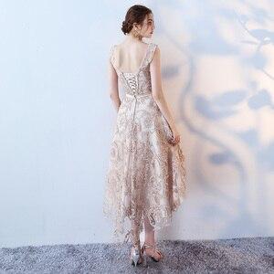 Image 4 - Robe de soiree O  Neck slim lace up Sleeveless evening dress  Short Front Long Back Party Dresses prom dresses Custom made