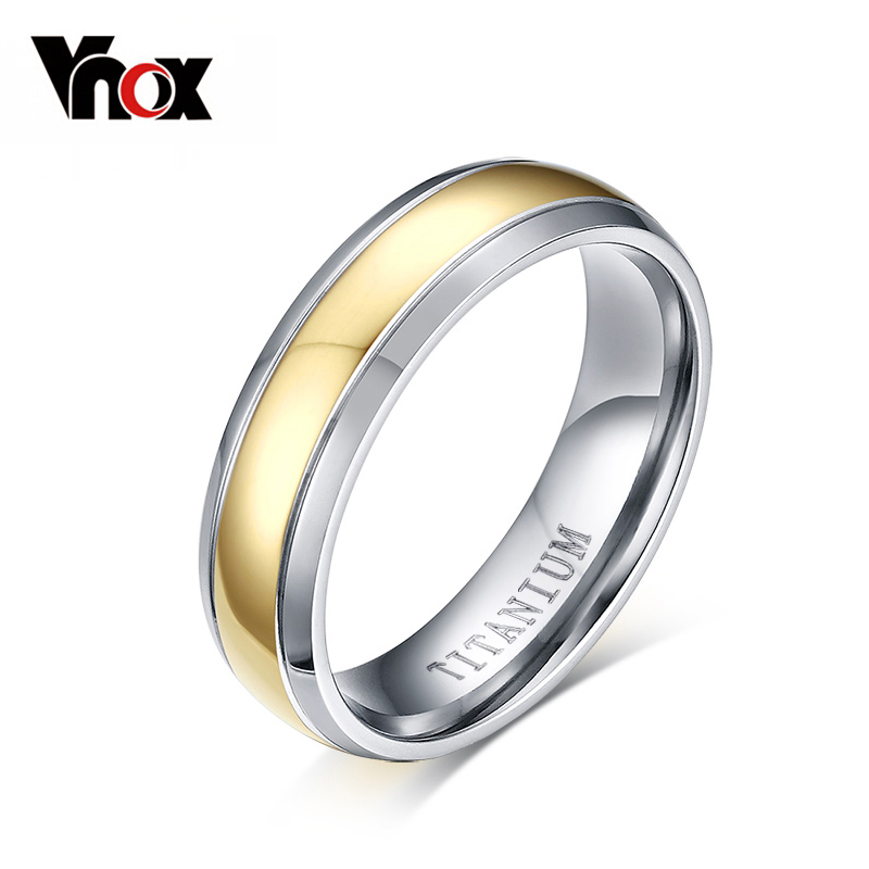Vnox Titanium Rings for Women Wedding Jewelry Elegant Gold-color Pure Titanium Not Allergic bty 1000 mini 1 2v aa aaa battery charger with 2 aaa 400mah ni mh batteries kit