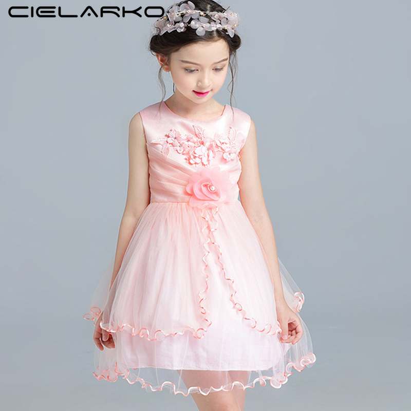 Cielarko Girls Dress Fancy Floral Lace Children Ball Gown Vintage Kids Wedding Party Dresses Baby Birthday Vestidos for Girl