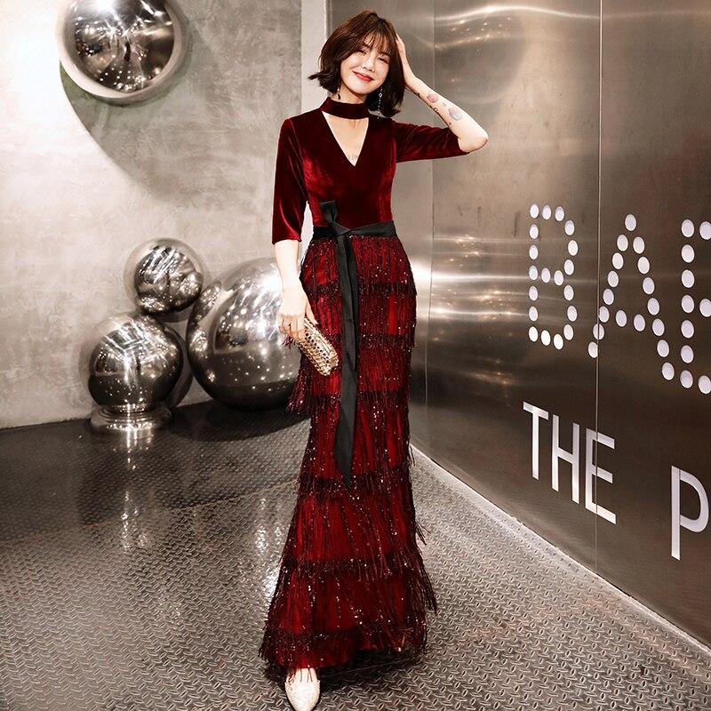 2019 New Velvet   Evening     Dresses   Long Mermaid Wine Red Formal   Dress   Sequined Abendkleider Women robe de soiree longue LYFY77