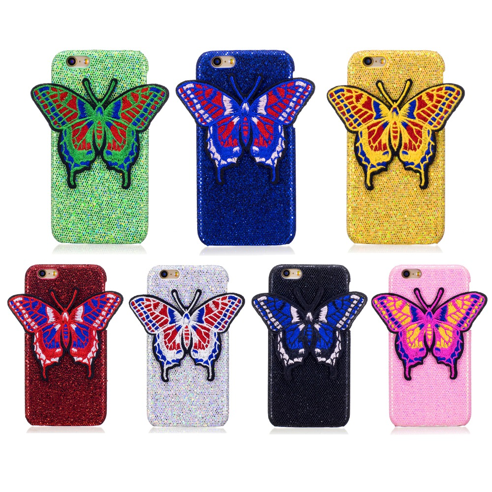 Módní značky tvrdé plastové zadní kryty pro Apple iPhone 6 6s 6G plus i7 7 plus 4,7 5.5 Vyšívané Butterfly pouzdro na telefon