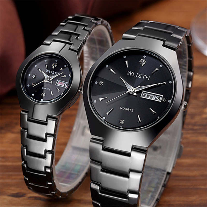 Rose Gold Couple Watch Women Men Quartz Watches English Calendar Male Female Wristwatch Stainless Steel For Lover Clock WLISTH