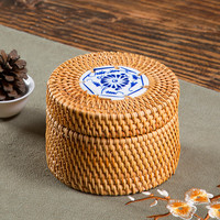 Chinese Style Rattan Storage Box With Tiles In The Lid Round Hand Woven Jewelry Box Organizer