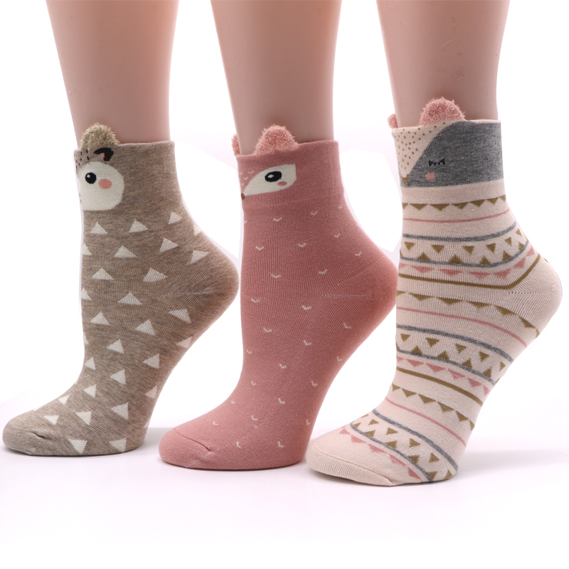 1Pair Cute Women's   Socks   Cartoon Women   Socks   with Animals Female Art   Socks   Meias Femininas Women Ladies   Socks   Chaussettes Femmes