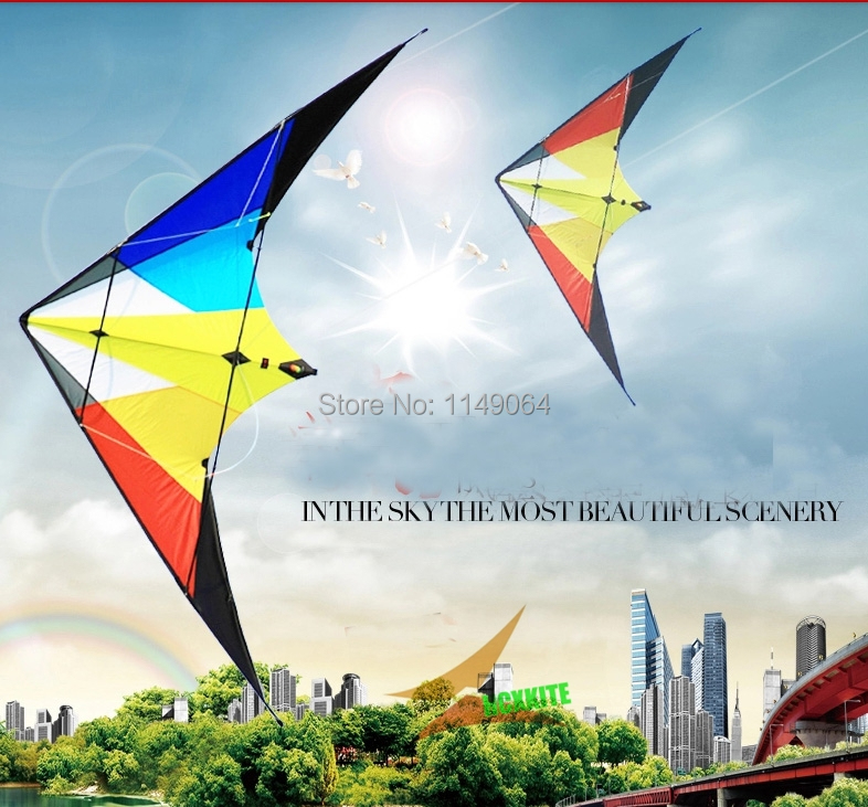free shipping high quality 2m rainbow dual line stunt kites with handle line outdoor fun sports parafoil  volante kiteboard wei