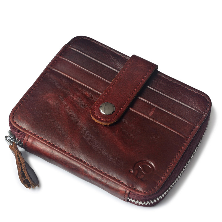 Unisex First Layer Of Leather Short Purse Men Card Holder Oil Wax ID Card Case Money Pack Women Business Small Wallet