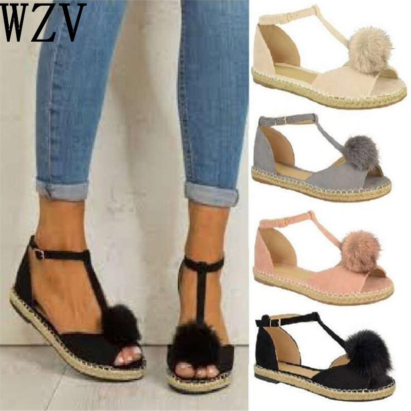 2018 New Hot Summer Rome Solid color Strap Ankle flat Women Sandals fashion Leisure Peep Toe Gladiator party Woman shoes A175 women sandals 2018 fashion summer shoes woman rome ankle strap flat sandals casual peep toe gladiator sandals low heel shoes