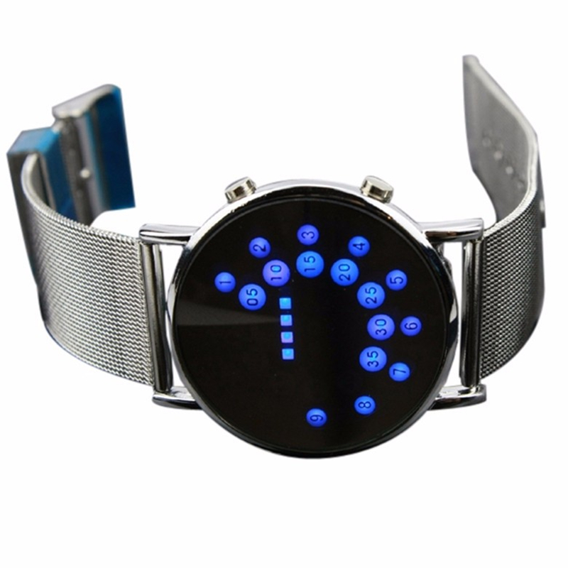 Mode LED MEN Klocka Watch Iron Man Blue LED Klockor Rostfritt Stål Armband & Bangles Relojes Hombre 2017 Armbandsur present