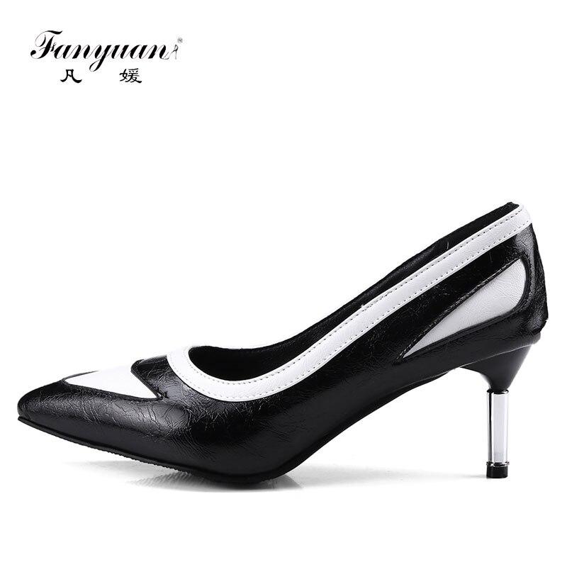 Alto Punta Mezclado Black Fanyuan on Color Tacón Estrecha Sexy Mujer  Vestido Zapatos white De Mentales ... c15eb18c14f3
