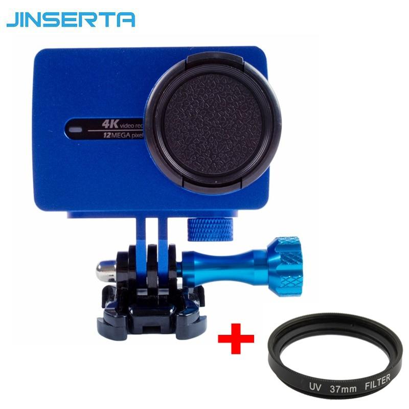 Para xiaomi Yi 4 K protector de aluminio marco caso con tornillo Lens Cap + filtro UV para xiaoyi 2 II 4 K acción accesorios de cámara