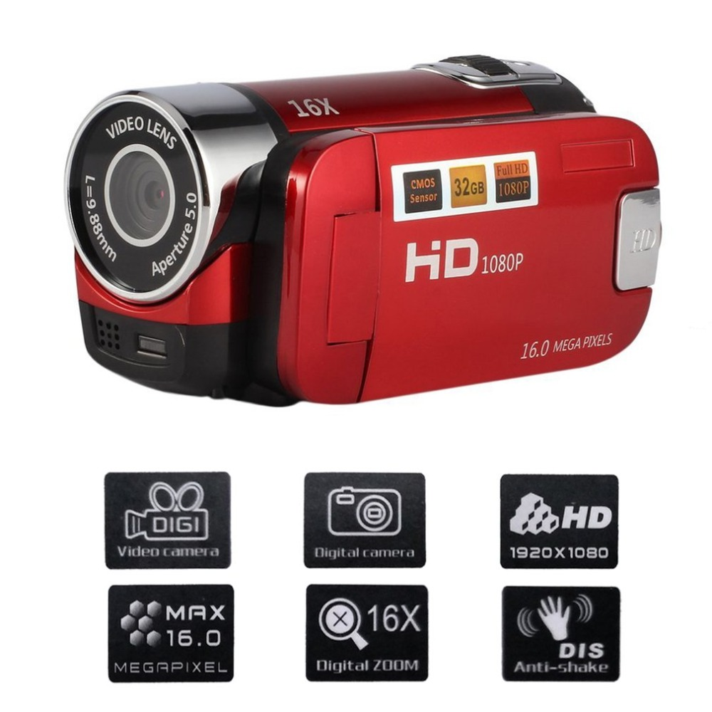 NEW 2.4 Inch Screen Full HD 1080P Digital TFT Camera 16.0 Mega Pixels CMOS Sensor DV With LED Fill Light Video Camera Recorder ...