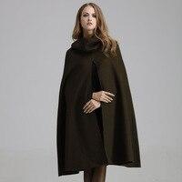 Кашемир Для женщин пальто длинный шерстяной плащ пальто Женская зимняя обувь одноцветное пальто Армейский зеленый черный пальто с капюшон