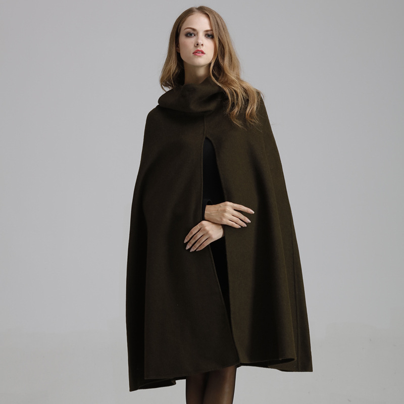 Cashmere Women Coat Long Woolen Cape Coat Female Winter Solid Coat ...