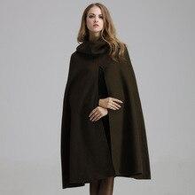 Cashmere Women Coat Long Woolen Winter Autumn Cape Coat Female Solid Army Green Black Hooded Cloak Loose Plus Size Manteau Femme