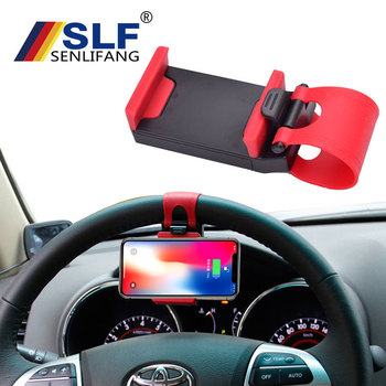 Car Phone Holder Stand Steering Wheel Bike Clip Mount Rubber Band Holder For iPhone 7 Plus Samsung S9 Plus Xiaomi 8 9 Charging steering wheel phone holder