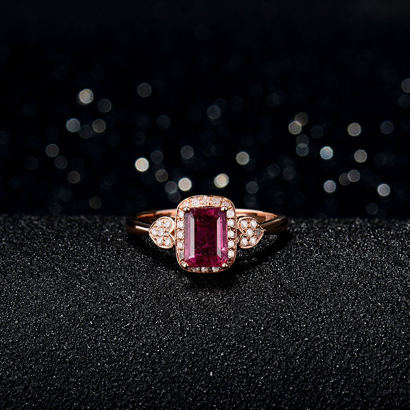 Prirodni smaragdno izrezani turmalinski vjenčani prstenovi čvrsti - Fine nakit - Foto 4