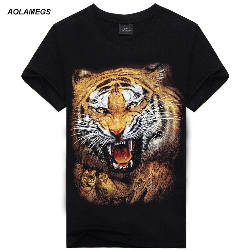 Aolamegs   T     shirt   men 3D Animal   T     shirt   100% Cotton Casual   T  -  shirt   Men clothes Pattern Tiger Wolf 2017 Hot Hip Hop   T     shirt   men