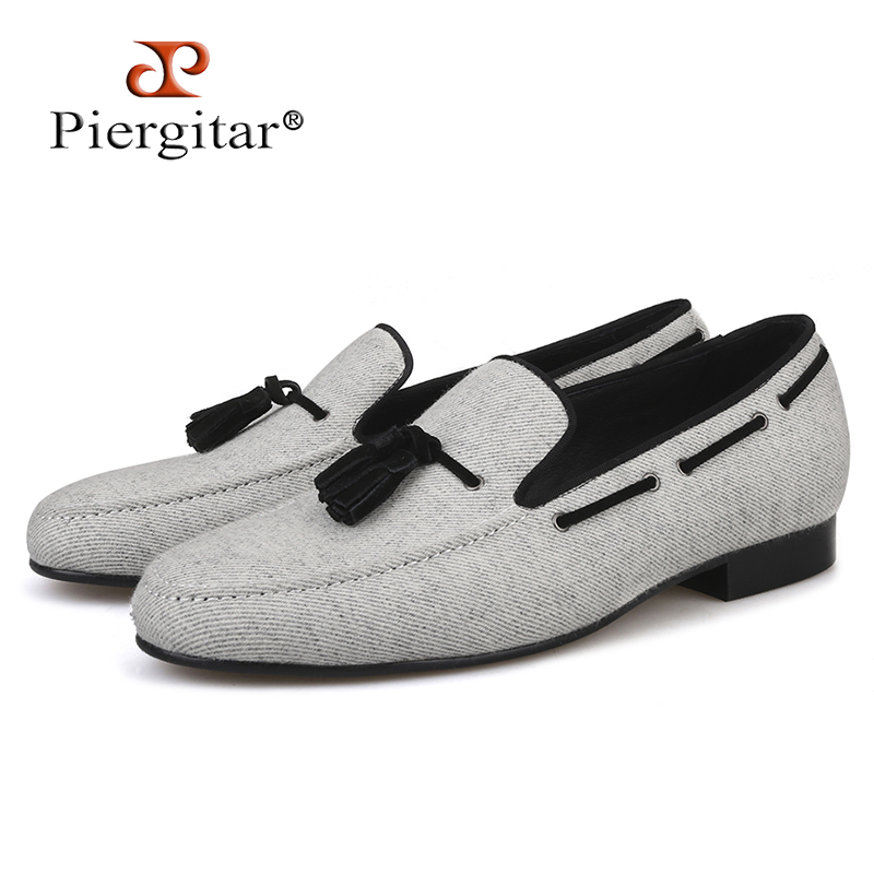 0bbf4c59f87 Piergitar 2018 handmade Men Velvet shoes Black tassel Men party and wedding  loafer male Fashion Smoking slipper Size US 4-17
