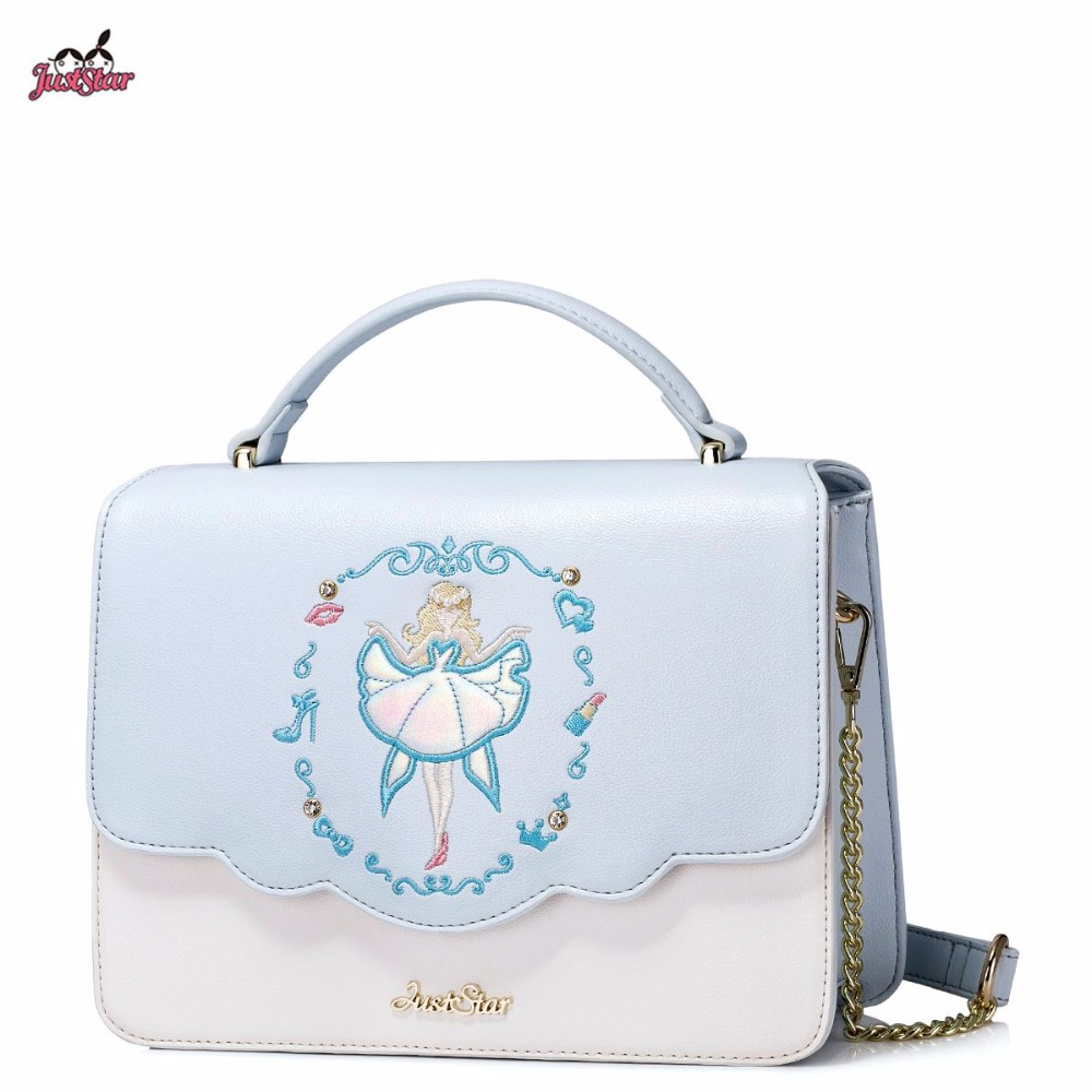 2017 Spring New Just Star Brand Design Embroidery Pearls PU Leather Handbags Girls Ladies Shoulder Crossbody Bags For Women смартфон zte blade v8 mini 32gb gold