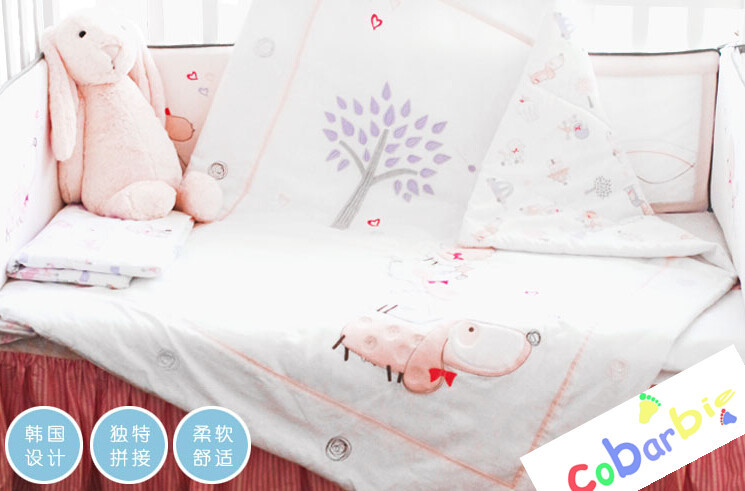 10 PC baby bedroom crib bedding set cotton infant cot nursery bedding for boy and girl summer bedding for kids