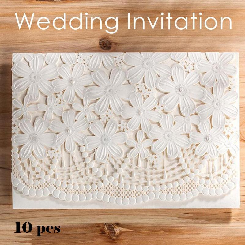 10 pcs Wedding Invitation Card Elegant Delicate Carved Flower Pattern Postcard Wedding Party event Supplies A35 1 design laser cut white elegant pattern west cowboy style vintage wedding invitations card kit blank paper printing invitation